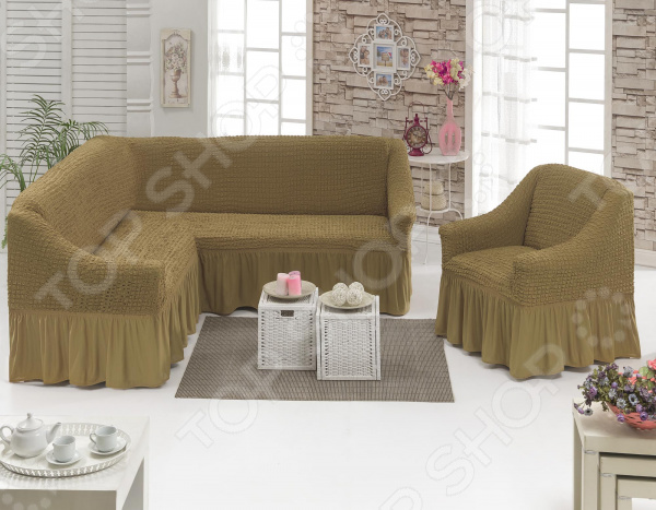 Zakazat.ru: Натяжной чехол на угловой диван и чехол на кресло Karbeltex