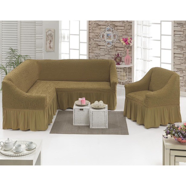 фото Натяжной чехол на угловой диван и чехол на кресло Karbeltex