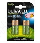 Набор батареек аккумуляторных Duracell HR03-4BL аккумуляторы duracell hr03 4bl 750mah aaa 4 шт