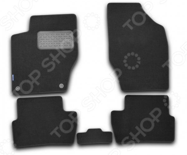 Комплект ковриков в салон автомобиля Novline-Autofamily Fiat Grande Punto 5D 2012. Цвет: серый