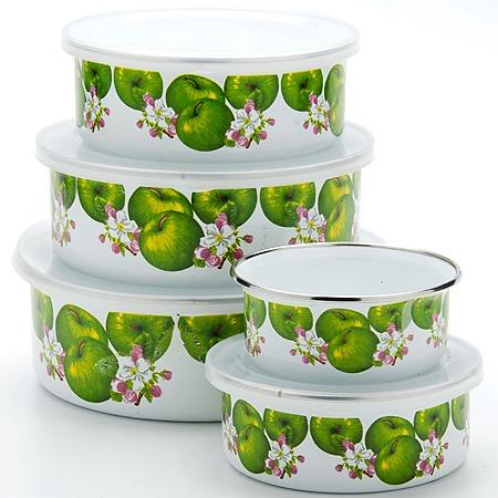 Купить Набор эмалированных контейнеров «Яблоко». 5 предметов