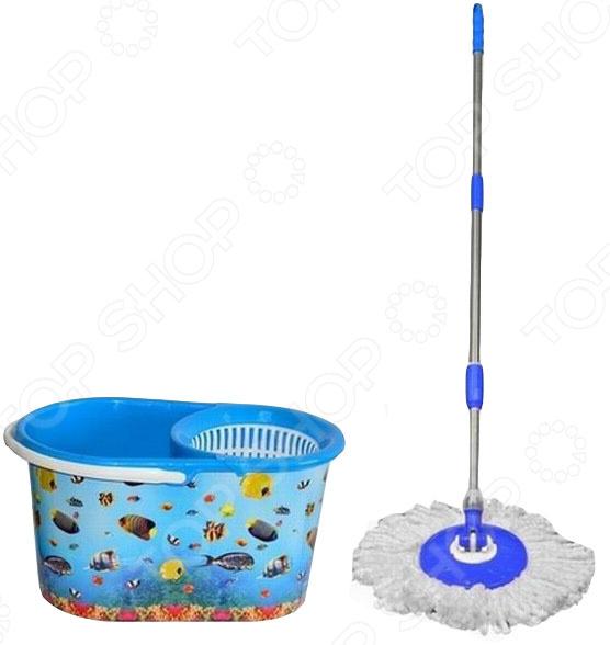 Набор для уборки: ведро с отжимом и швабра Violet «Океан» швабра для мытья пола soft touch light твист с отжимом