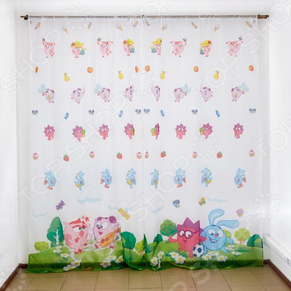 фото Комплект тюля детского Сирень «Смешарики веселятся», Портьеры для детской комнаты