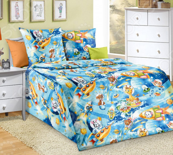 Детский комплект постельного белья Бамбино «Космические приключения»
