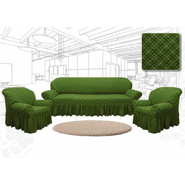 фото Натяжной чехол на трехместный диван и чехлы на 2 кресла Karbeltex «Престиж. Ромбы». Цвет: зеленый