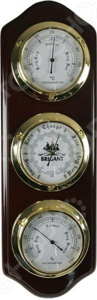 Барометр-метеостанция настенная Brigant 28116 качественное климатическое оборудование для дома и офиса. Прибор отличается простотой использования и компактными размерами, поэтому он без труда найдет свое место даже в небольшом помещении. Аналоговая метеостанция выполняет сразу три функции: измерение давления, температуры и уровня влажности. Такой прибор будет очень полезен в быту, ведь он позволит в любое время контролировать состояние помещения, а вместе с ним и степень комфорта для людей. Зачастую проблемы со здоровьем и дискомфорт возникают по причине сухости воздуха или, наоборот, его излишней увлажненности. Метеостанция дает возможность фиксировать данные показатели, чтобы в дальнейшем улучшить состояние жилища или офиса. Метеостанция это не только полезный прибор, но и красивейший элемент декора. Представленная в роскошной коричневой расцветке с золотистыми вставками она прекрасно впишется в любой интерьер и наполнит его особым уютом. Изделие выполнено из прочных материалов, не требует особого ухода. Рекомендуется периодически протирать его мягкой сухой тканью для удаления пыли.