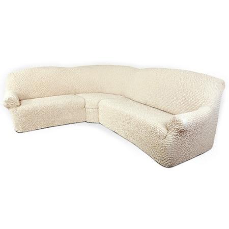 Купить Натяжной чехол на классический угловой диван Еврочехол «Микрофибра. Ваниль»