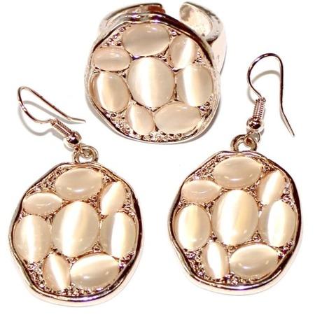 Купить Комплект: кольцо и серьги Bradex «Беж»