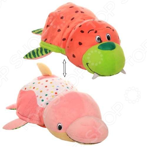 Мягкая игрушка 1 Toy «Вывернушка Ням-Ням 2в1: Морж-Дельфин» плюшевая игрушка вывернушка пингвин морж 20см