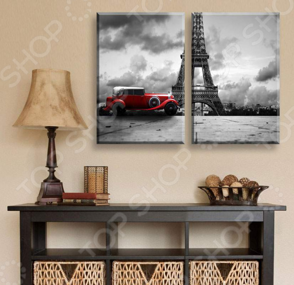 Картина 2-модульная ТамиТекс «Красная машина» картина тамитекс собор