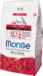 Корм сухой для собак мелких пород Monge Natural Superpremium Senior Mini Rich in Chicken