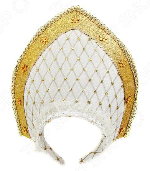 Кокошник карнавальный Новогодняя сказка 972398 новогодняя сказка кокошник 23х30 см белый с золотым