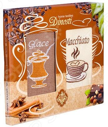 Комплект из 2-х кухонных полотенец Dinosti «Макиато» комплект из 3 х кухонных полотенец dinosti розовые хрюшки