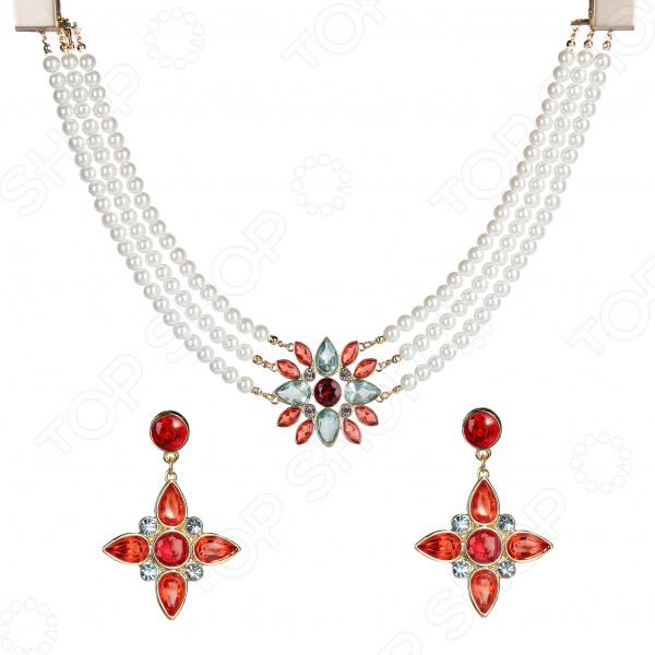 Ожерелье и серьги Laura Amatti «Роскошный цветок»