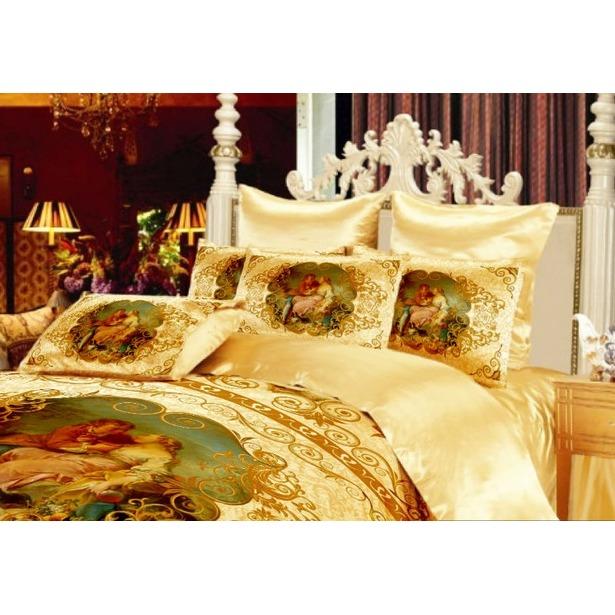 фото Комплект постельного белья «Аморе». Евро. Цвет: золотистый