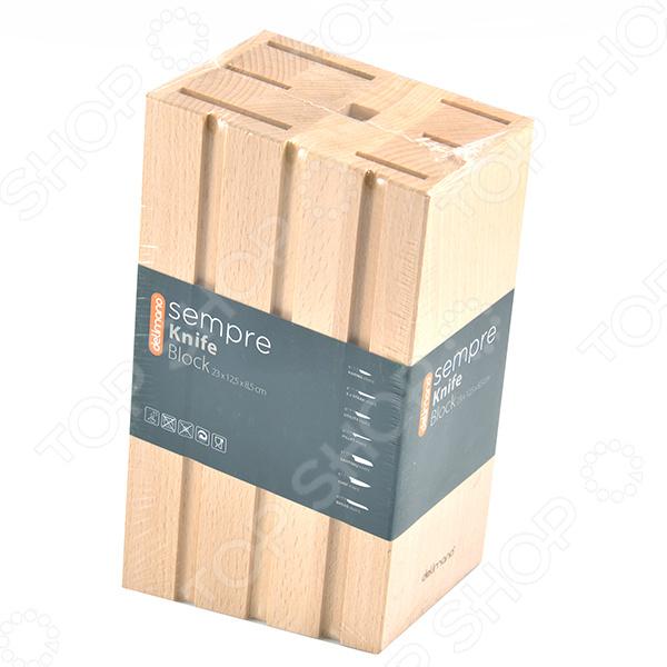 Подставка для ножей Delimano Sempre аксессуар для хранения ножей из серии Sempre. Изделие создано из древесины бука, при изготовлении не использовались лаки и химические пропитки. Подставка имеет современный дизайн и прочную конструкцию. Станет прекрасным дополнением для вашего набора ножей Delimano Sempre.