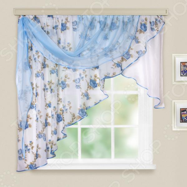 Комплект легких штор левосторонний WITERRA «Мелодия». Цвет: голубой. В ассортименте