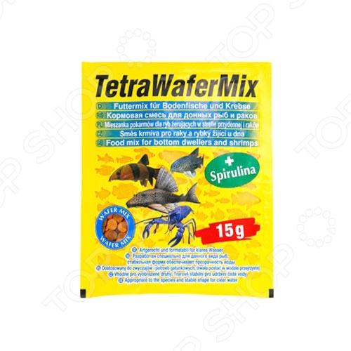 Корм для травоядных и хищных рыб Tetra WaferMix 15г tetra корм для рыб tetra guppy в хлопьях для гуппи 250мл