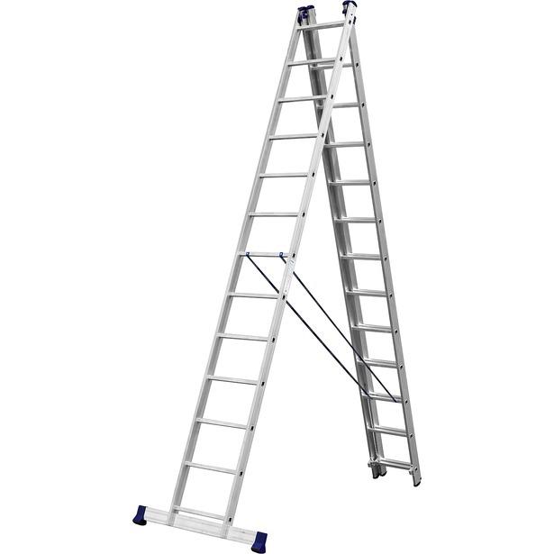 фото Лестница трехсекционная со стабилизатором Сибин 38833. Количество ступеней: 13