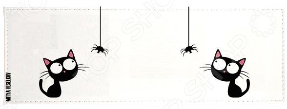 Обложка для студенческого билета Mitya Veselkov «Кошка и паучок» обложка для студенческого билета mitya veselkov ежик ночью
