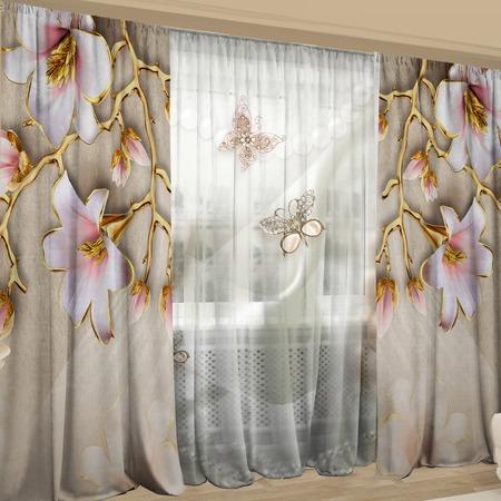 Купить Фотокомплект: тюль и шторы ТамиТекс «Фаянсовые мотыльки»