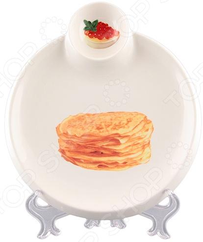 Тарелка сервировочная для блинов Elan Gallery с соусником «Блины» Elan Gallery - артикул: 1304570