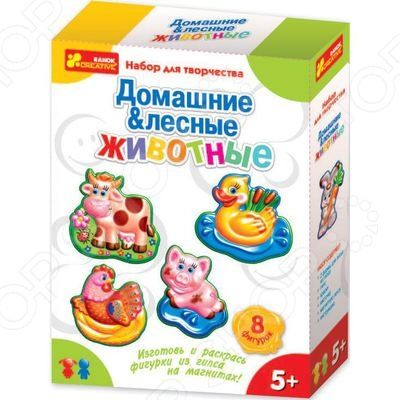Набор для детского творчества Ранок «Гипс на магнитах. Домашние и лесные животные» набор для детского творчества ранок фоторамочка 2 в 1 настроение и принцесса