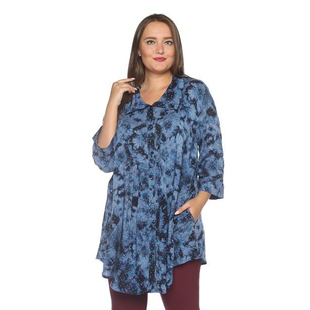 фото Блуза Pretty Woman «Тонкие жесты». Цвет: голубой. Размер одежды: 62