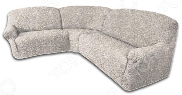 Натяжной чехол на классический угловой диван Еврочехол «Виста. Иллюзия»