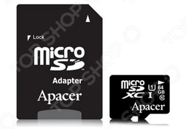Карта памяти Apacer SD 64Gb Class 10 High-Capacity UHS-I с адаптером карта памяти apacer
