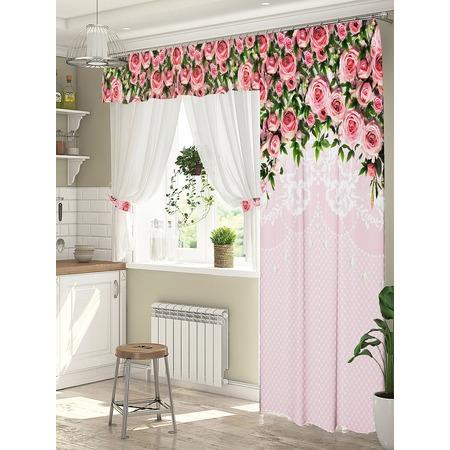 Купить Комплект штор для окна с балконом ТамиТекс «Полет за мечтой». Цвет: розовый
