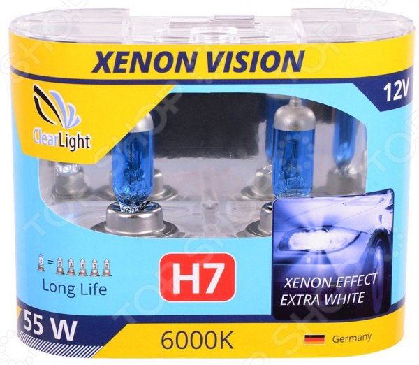 Комплект автоламп галогенных ClearLight XenonVision H7 12V-55W