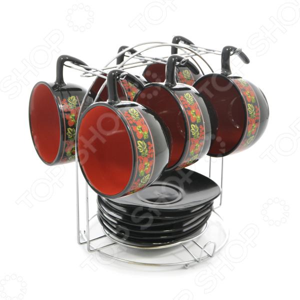Чайный набор на подставке Фарфоровый путь «Клубника» набор эм 7 предметов 25 клубника садов 985540