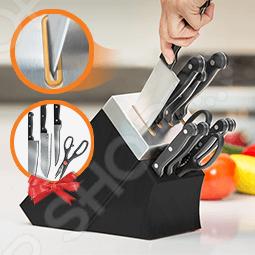 Набор ножей с подставкой и ножеточкой Delimano «Шеф повар» набор из 5 кухонных ножей ножниц и блока для ножей с ножеточкой nadoba helga 723016
