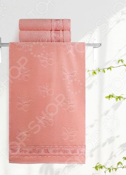 Полотенце махровое Aquarelle «Бабочки». Цвет: персиковый