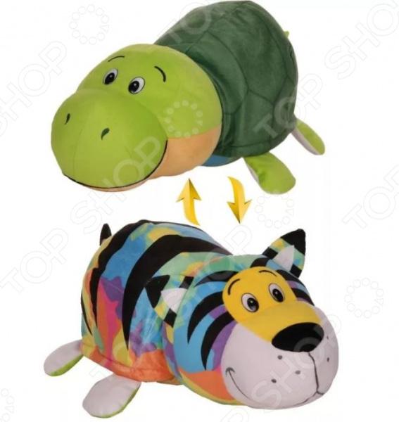 Мягкая игрушка 1 Toy «Вывернушка 2в1: Радужный тигр-Черепаха» вывернушка еж черепаха 1toy еж черепаха наполнитель плюш пластик 12 см
