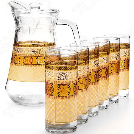 Набор: кувшин и 6 стаканов Loraine LR-24066 набор кувшин и 6 стаканов розы