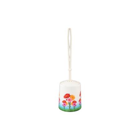 Купить Ёршик для туалета и подставка круглая Violet 1401/82 «Цветы»