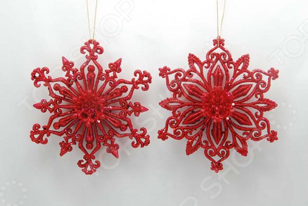 Новогоднее украшение Crystal Deco «Снежинка с блестками». В ассортименте