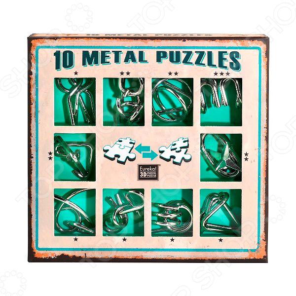Набор головоломок Эврика 10 Metal Puzzles green set
