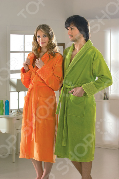 Халат махровый женский Hobby Home Collection Angora. Цвет: оранжевый