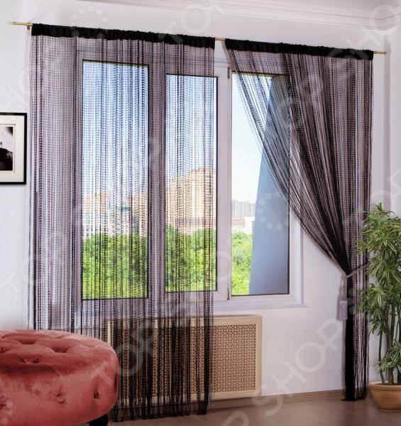Шторы нитяные Алтекс «Петля». Цвет: черный шторы haft нитяные шторы deniz цвет белый
