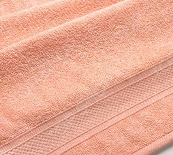 Полотенце махровое Uztex с бордюром. Цвет: персиковый