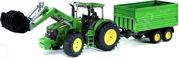 Трактор игрушечный Bruder с погрузчиком и прицепом John Deere 7930 машинки tomy трактор john deere 6830 с двойными колесами и фронтальным погрузчиком