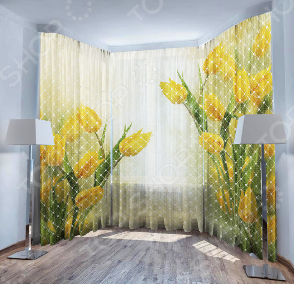 Фототюль ТамиТекс «Желтые тюльпаны»