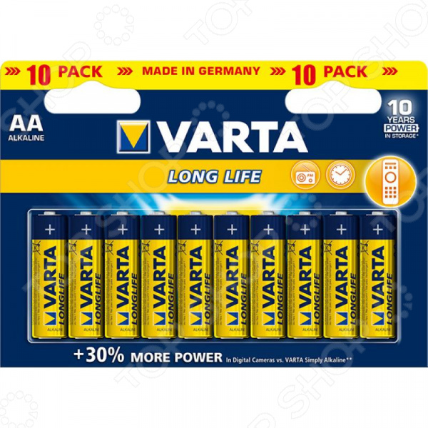Элемент питания VARTA Longlife AA бл 10 шт. varta longlife aa big box 24