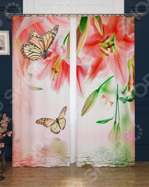 Фотошторы блэкаут Сирень «Лилии в цвету»