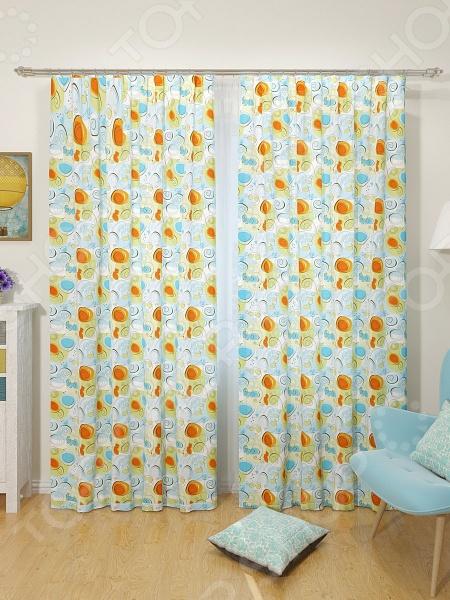 Шторы детские Сирень «Разноцветные завитушки» шторы apolena классические шторы сирень