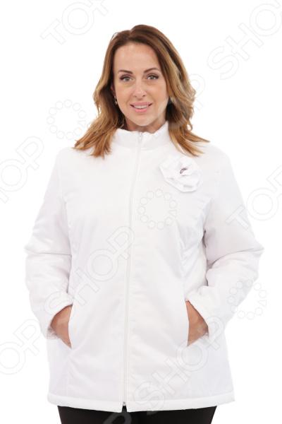 Куртка СВМ-ПРИНТ «Тонкий вкус с воротником». Цвет: белый свм принт марьяна цвет оливковый