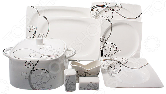 Набор блюд для сервировки OlAff «Белый квадрат. Узоры». Количество предметов: 25 фруктовница olaff кетцаль узоры 2 яруса kr scp011 012 1056e